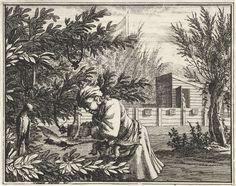 Vincent Laurensz. van der Vinne (II) | Vogelvanger bij een vogel en aas in een boom, Vincent Laurensz. van der Vinne (II), 1714 | Een man haalt een vogel, die is afgevlogen op een opgehangen vogel als aas in een boom, uit een strik. Zinnebeeld op mensen die door verlokkingen gevangen zijn, alleen door Gods hulp weer bevrijd kunnen worden.