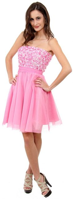 Pretty Flowered Sequined Strapless Short Prom Dress. #D14059 Available in Pink Aqua. #sexy #dresses #pretty #pink #short #hot