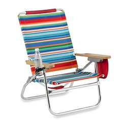 The Genuine Beach Bum Multi Stripe Multi Colored Beach Chair In Rust Resistant Aluminum Frame -- Check out this great product.