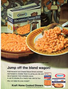 Vintage 1968 Kraft Macoroni & Cheese Deluxe Dinner Magazine Ad Kitsch Advertising Retro Kitchen Decor Collect Frame or use for Crafts by CapricornOneEphemera on Etsy