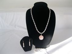 Rose Quartz and Crystal Pendant with hand carved by MDJewelCraft, $30.00