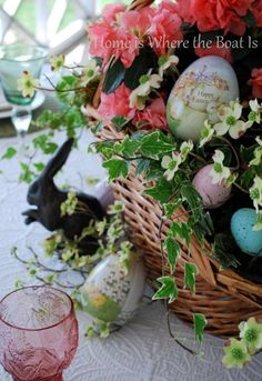 Easter Greetings Table | homeiswheretheboatis.net #Easter #centerpiece