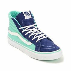The @Vans Sk8 Hi Slim 2 Tone Twilight Blue and Cockatoo shoes are an old school inspired look that will become a modern favorite | #zumiez