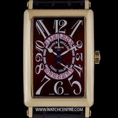 FRANCK MULLER 18K Y/G RED DIAL BI-RETRO LONG ISLAND B&P 1100DSR http://www.watchcentre.com/product/franck-muller-18k-y-g-red-dial-bi-retro-long-island-bp-1100dsr/6667 #FranckMuller #18kYellowGold #RedGuillocheDial #LongIsland #Gents #Wristwatch #Luxury #T