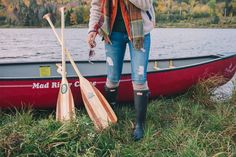 Gal Meets Glam Morning Canoe On Blueberry Lake - Penfield jacket, J.Crew vest, J.Crew turtleneck, Current Elliott jeans, Hunter boots, cable socks & Krewe sunglasses