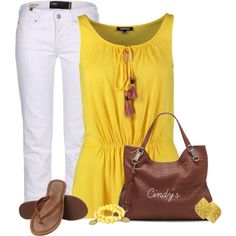 Yellow top, created by cindycook10 on Polyvore