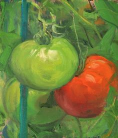 a painting a day: Red and Green Tomatoes, 7/18/2015