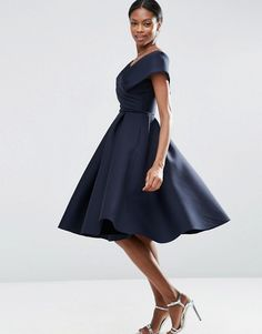 ASOS   Scuba   Off-the-shoulder dress in both NAVY and PINK.