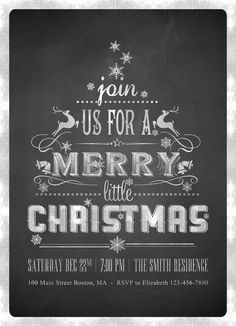Printable Chalkboard Christmas Invitations - Chalkboard Typography