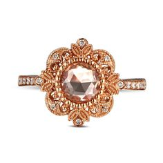 Morganite Engagement Ring with .15ct natural by JewelryZoneForLove,
