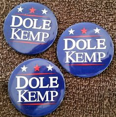 Lot of 3 - 1996 Dole/Kemp Presidential Campaign Buttons w/Pins | eBay