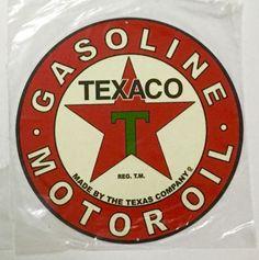 TEXACO-GASOLINE-MOTOR-OIL-Classic-14-Diameter-Tin-Sign-New