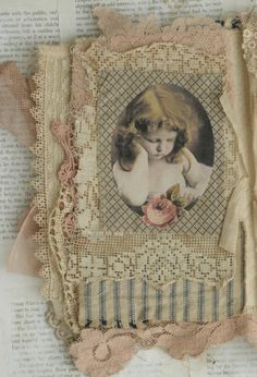 Mixed Media Fabric Collage Book of French Flowers Cherubs | eBay