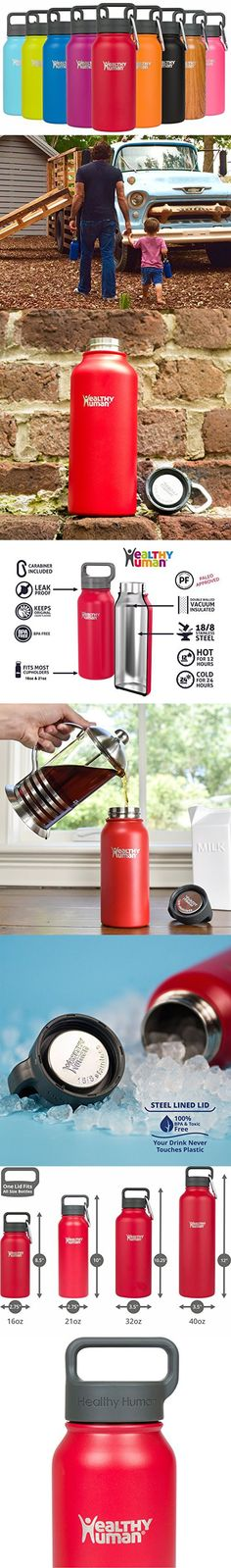 Healthy Human 16 oz Water Bottle - Cold 24 Hrs, Hot 12 Hrs. 4 Sizes & 12 Colors. Double Walled Vacuum Insulated Stainless Steel Thermos Flask with Carabiner & Hydro Guide. Color: Red Hot