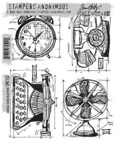 NEED *Tim Holtz Cling Rubber Stamps 2013 VINTAGE THINGS BLUEPRINT CMS152