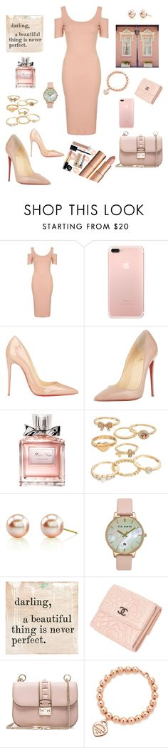 """""""Peach"""" by maryanacoolstyles ❤ liked on Polyvore featuring Topshop, Christian Louboutin, Christian Dior, Mudd, Ted Baker, Sugarboo Designs, Chanel, Valentino and Tiffany & Co."""