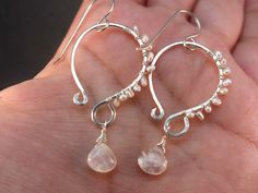 Moonstone earrings - by BirdandBeed