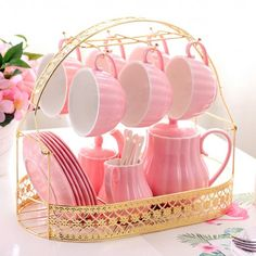 Solid Color Porcelain Tea Sets of 15 For Parties -You can find Porcelain and more on our website.Solid Color Porcelain Tea Sets of 15 For Parties - Diy Vintage, Vintage Teacups, Sushi Set, Everything Pink, Pink Candy, Decoration Table, Pretty In Pink, Tea Time, Tea Party