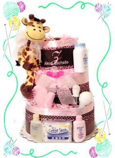 Baby Girl Giraffe Diaper Cake