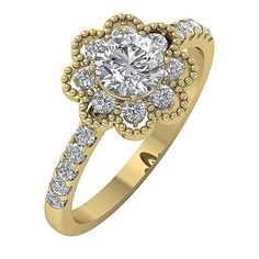 I1/G Solitaire Anniversary Ring 1.45Ct Natural Diamond Prong Set 14Kt Solid Gold #DiamondForGood #SolitairewithAccents