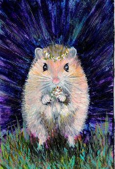 """Cat No.  13180 - Country Mouse Daisy - OSWOA Series"" - Original Fine Art for Sale - � Sea Dean"