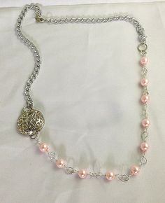 One of a kind silver necklace with pink by BeeMarieJewellery, $22.00