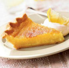 Triple Lemon Pie - Lemon peel, lemon juice, and lemon extract give this citrus pie its tart yet tasty flavor. Citrus Recipes, Lemon Dessert Recipes, Pie Recipes, Easter Recipes, Fruit Recipes, Summer Recipes, Just Desserts, Delicious Desserts, Recipes