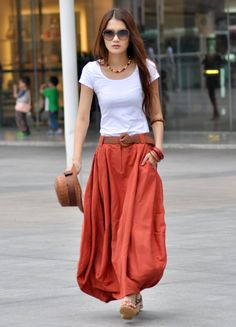 Maxi Skirt Sexy Bud Long Skirt in Dark Orange - NC023