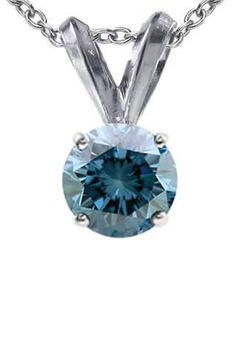 Vir Jewels 0.5 CT Blue Diamond Solitaire Pendant In 14K White Gold