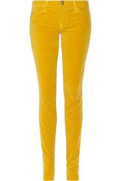 Current/Elliott The Skinny low-rise velvet jeans