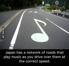 Musical road near Mount Fuji, Japan.