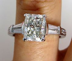 3.05ctw Estate RADIANT Cut Diamond Engagement Ring EGL USA  in Platinum on Etsy, $14,990.00