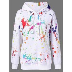 Splatter Paint Drop Shoulder Hoodie ($18) ❤ liked on Polyvore featuring tops, hoodies, sweatshirt hoodies, hooded sweatshirt, drop shoulder tops, hoodie top and hooded pullover