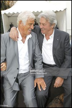 Jean Paul Belmondo, Alain Delon at Opening Party For The Paul Belmondo Museum In Boulogne-Billancourt. Alain Delon, Hollywood Men, Hollywood Stars, Star Francaise, Actor Studio, Brigitte Bardot, Movie Stars, Actors & Actresses, Beautiful Men