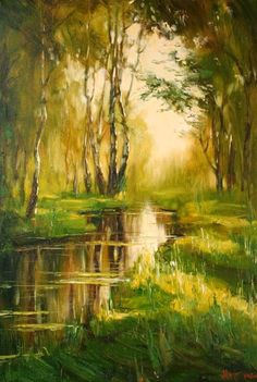 Stepan Nesterchuk - River in the Woods Watercolor Trees, Watercolor Landscape, Landscape Art, Landscape Paintings, Landscapes, Pictures To Paint, Nature Pictures, Art Pictures, Nature Paintings