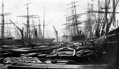 The South West india Dock abt. 1880-1900.Full of ships and supply barges.