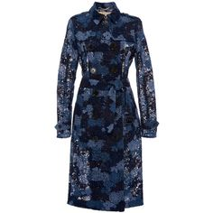 Burberry     Sandringham Tie Dye Lace Trench ($3,895) ❤ liked on Polyvore featuring outerwear, coats, blue, jackets, blue trench coats, double-breasted trench coat, burberry, burberry trenchcoat and lace trench coat