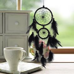 Other Home Decor Black Feather Pattern Craft Dream Catcher Wall Hanging Home Room Car Decor Gift & Garden Dream Catcher Price, Dream Catchers For Sale, Small Dream Catcher, Feather Dream Catcher, Black Dream Catcher, Dream Catcher Native American, Hoop Dreams, Native American Crafts, Black Feathers
