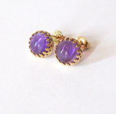 Amethyst Gemstone Earrings Gold Vermeil .925 by SendingLoveGallery