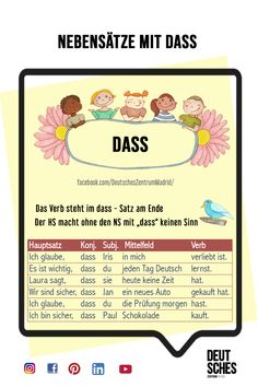 German Vocabulary Grammar German Alemán DAF Vocabulario Subordinate clauses onderwijs subordinate clauses with DASS- Nelson Mandela Education Quote, Education Quotes, Study German, Learn German, German Grammar, German Words, Rhyming Words, Vocabulary Words, Deutsch Language
