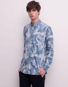 Pull&Bear - man - shirts - print shirt - blue - 05472511-V2015
