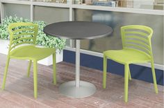 """Take your work outdoors. With its seamless design that keeps moisture out and durable, UV, heat and scratch resistant powder coat finish, the Entourage table will stand up to whatever you and Mother Nature throw at it. Available with 24"""" or 32"""" tabletops.  #table #patio #outdoors #lunch #dinner #sunshine #outside #family #summer #spring #brunch #spring #fall #eat #chair #deck #nature #eat #talk #chat #weatherproof  #work #office #hospitality #guest"""