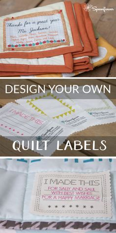 Every handmade project deserves a label to let the recipient know just who made it, and to carry the artist's name for generations to come. Emma from the Quilting Projects, Quilting Designs, Quilting Room, Quilting Tips, Quilting Board, Modern Quilting, Quilting Fabric, Quilting Tutorials, Sewing Projects