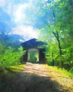 Deerfield Park Covered Bridge, Mount Pleasant, Michigan - digital painting by Philip Espinosa