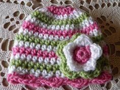 Sweet crochet baby hat...no pattern but can borrow color scheme and use basic beenie pattern