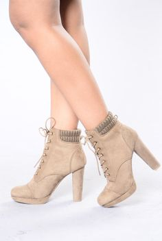 - Available in Taupe - Lace Up Bootie - Ribbed Ankle - 3/4 Inch Platform, 4 1/4 Inch Heel