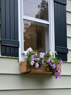 Easy and Quick #DIY Window Box. Also like hardware on shutters