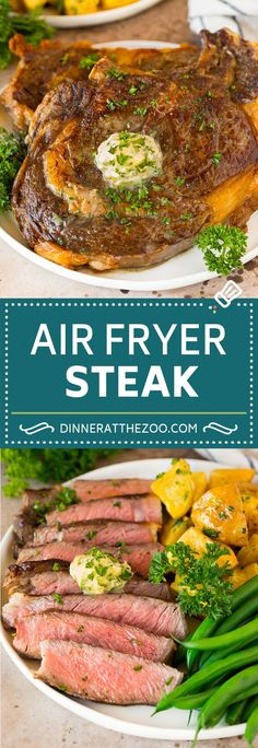 This air fryer steak is tender beef coated in seasonings, then air fried to golden brown perfection and topped with garlic and herb butter. Beef Steak Recipes, Ground Beef Recipes, Herb Butter, Garlic Butter, Delicious Dinner Recipes, Brunch Recipes, Slow Cooker Italian Beef, Air Fryer Steak, Beef Ribs