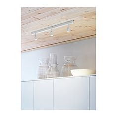IKEA - BÄVE, LED ceiling track, 3 spots, , You can easily direct the light to different places since each spotlight can be adjusted individually.The LED light source consumes up to less energy and lasts 20 times longer than incandescent bulbs. Rail Plafond, Spot Plafond, Spot Sur Rail, Blue Coffee Tables, Ikea Family, Basement House, Ikea Us, Decoration Design, Affordable Furniture