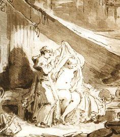 Jean Honoré Fragonard (1732-1806) L'hermite (détail) fable de La Fontaine